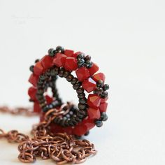Red Swarovski Pendant Corail Mini Rosco Handbeaded by SarahRobinL, €15.00