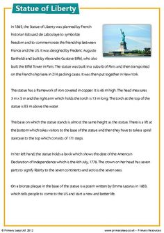 USA - Statue of Liberty - Comprehension Worksheet englishresources Reading Comprehension Worksheets, Reading Fluency, Reading Passages, Reading Skills, Writing Skills, Teaching Reading, Comprehension Questions, Teach English To Kids, Teaching English