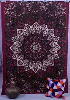 Indian Maroon Star Hippie Mandala Psychedelic Wall Hanging Twin Tapestry Throw in Home & Garden, Home Décor, Tapestries Elephant Tapestry, Dorm Tapestry, Tapestry Bedroom, Mandala Tapestry, Tapestry Wall Hanging, Tapestries, Wall Hangings, Indian Tapestry, Hippie Bedding