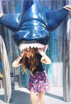 Jo at an amusement park during the summer