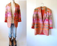 Vintage 80's Southwest blazer jacket / Navajo Ikat ethnic cotton lightweight / M medium. $38.00, via Etsy.