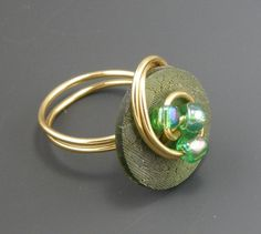Green Button Ring with Green Beads Wire by TrinketsNWhatnots on Etsy