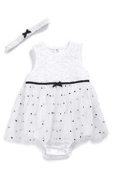 Little Me 'Rosette' Tulle Bodysuit & Headband (Baby Girls) | Nordstrom