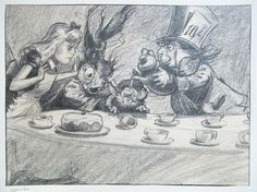 Alice in Wonderland -Tea Party Scene concept art by David Hall