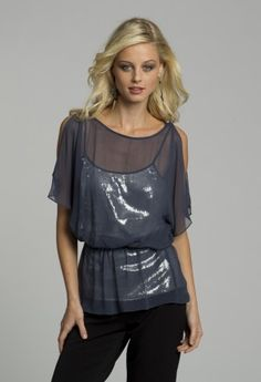 2aac1c5dc8f Dressy Tops - Short Sleeve Top with Sequin Tank from Camille La Vie and Group  USA
