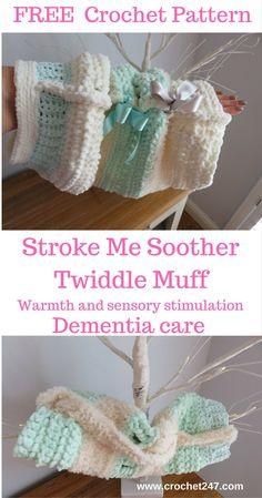 Stroke Me Soother Crochet Twiddle Muff - www.crochet247.com