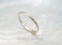 dainty wedding ring  women's platinum wedding band by RavensRefuge