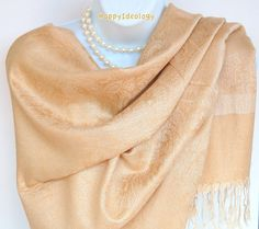 Beige Pashmina Scarf. Golden Beige Pashmina by HappyIdeology