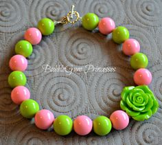 Chunky BubbleGum necklace PINK & LIME green girl toddler baby Jewelry Rose Adorable