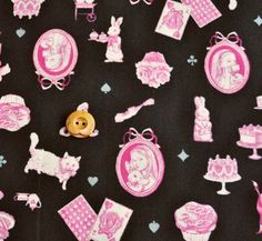 Alice in Wonderland Fabric Black Japanese Fabric  by shimgraphica, $7.00