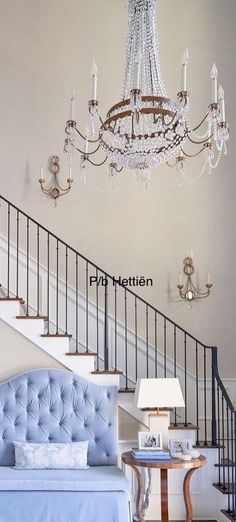 Stairs And Doors, Dream Homes, The Hamptons, Nautical, Tory Burch, Blues, Chandelier, Sofa, Ceiling Lights