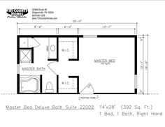 14x16 Master Bedroom Floor Plan with Bath and Walk In Closet