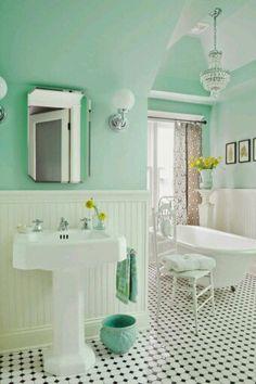 House of Turquoise: Anna Forkum I love the fresh wall color (Benjamin Moore Spirit in the Sky *mint green bathroom Mint Green Bathrooms, Mint Bathroom, Small Bathroom, Turquoise Bathroom, Colorful Bathroom, Downstairs Bathroom, Mint Green Rooms, Mint Green Decor, Chevron Bathroom