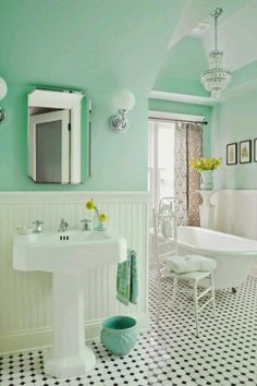 Bathroom decor in mint
