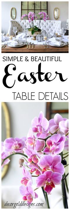 Beautiful Easter table with simple, but elegant orchid arrangement Easter Table Settings, Easter Table Decorations, Orchid Arrangements, Christmas Tablescapes, Holidays Halloween, Seasonal Decor, Holiday Crafts, Party Time, Decorating Ideas