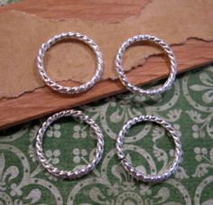 17mm Sterling Silver Plated Grande Rope Jumprings from Nunn Design - 4 count by beadbarnsupplies on Etsy