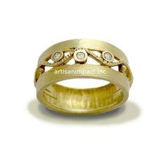 Wedding ring gold diamonds ring 14K yellow gold by artisanlook