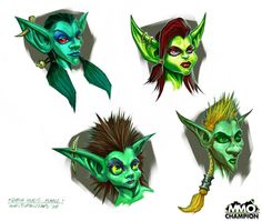 Female Goblins Concept art photo: The colored version of possible head designs of Goblin females This photo was uploaded by Lynxiapatty