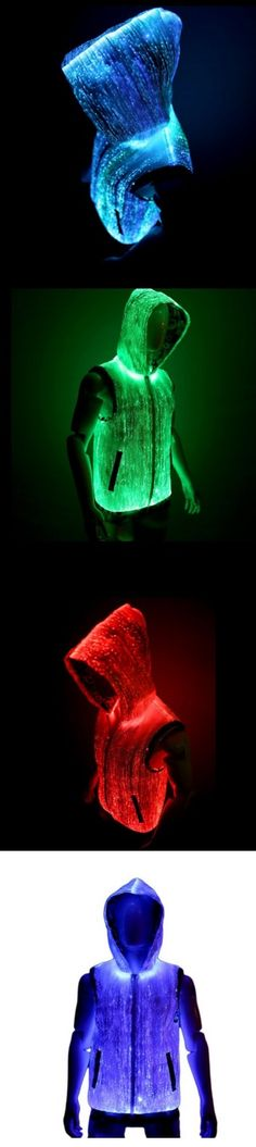 Luminous fashion!!  Fiber Optic Light Up Mens Hoodie