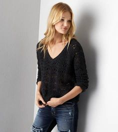 Charcoal AEO Open Knit V-Neck Sweater