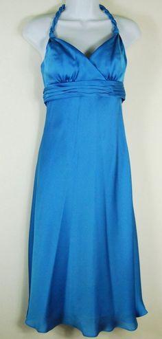 Davids Bridal 6 Blue Cocktail Dress Braided Halter Chiffon S Small Prom Empire #DavidsBridal #BallGown #Cocktail