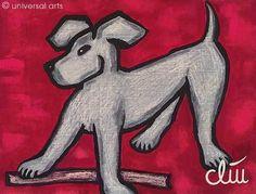 """""""Hund auf rotem Grund"""" Kunstdruck A4 von universal arts Galerie Studio http://de.dawanda.com/shop/universal-arts"""