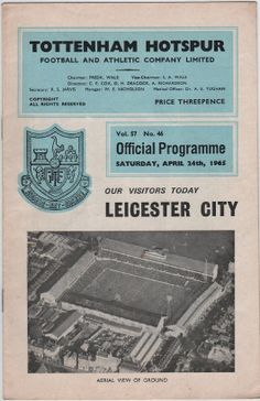 Vintage Football Programme - Tottenham Hotspur v Leicester City, 1964/65 Season | Tottenham Hotspur Football Club