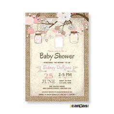Burlap Rustic Baby Boy Shower Invitation, Mason Jar Baby Girl Shower Invites, Mason Jar, Shabby Chic, Pink, Blush, String Lights Shower BS68 by 800Canvas on Etsy