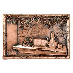 Design Tuscany Mediterranean Olives & Cheese Backsplash & Mural Tile, Pewter, As Shown Copper Kitchen, Rustic Kitchen, Tuscan Design, Copper Accents, Tuscan Decorating, Italian Style, Kitchen Backsplash, Tuscany, Pewter