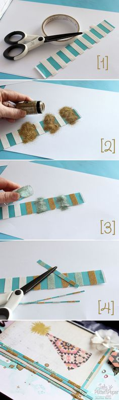 Altered #Glitter Strips! How to make the most of your #scraps of leftover #ScrapbookingPapers ! #JowilnaNolte #LadyPatternPaper #BaisEssentials