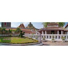 Entrance To Wat Pho temple Bangkok Thailand Canvas Art - Panoramic Images (12 x 36)