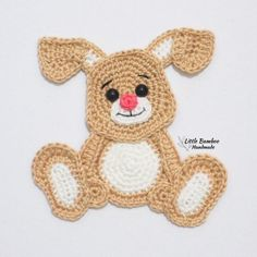 PATTERN- Rabbit Applique-Crochet Pattern, pdf PATTERN- Rabbit Applique-Crochet Pattern, pdf You are in the right place about Crochet accessories Here we offer you the most. Crochet Applique Patterns Free, Crochet Motif, Crochet Flowers, Crochet Baby, Easter Crochet, Crochet Gifts, Crochet Dolls, Dog Christmas Stocking, Elephant Applique
