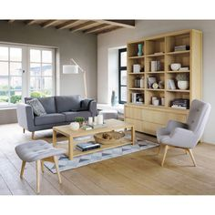 Sofá 2/3 plazas de tela gris claro Nils | Maisons du Monde