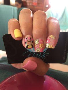Acrylic Nails,Nails art, pink Nails, flower nails, frida nails
