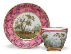 SEVRES PORCELAIN ROSE MARBRE CUP AND SAUCER-1763