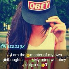 I'm the Master of My own Thoughts.💭 My Mind will Obey only Me. Cute Attitude Quotes, Girl Attitude, Attitude Status, Girly Quotes, Positive Attitude, Me Quotes, Qoutes, Swag Quotes, Wisdom Quotes