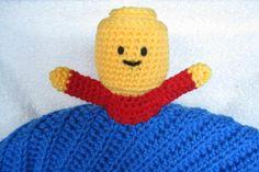 LEGO man crochet baby comfort blanket