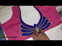 Beautiful blouse back designs Indian, visit to see. Cutwork Blouse Designs, Patch Work Blouse Designs, Simple Blouse Designs, Embroidery Neck Designs, Stylish Blouse Design, Back Neck Designs, Blouse Neck Designs, Blouse Neck Models, Designer Blouse Patterns