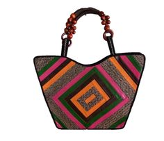 HAND-BAG MADE FROM WOVEN ARROW CANE WITH DESIGNS IN SYNTHETIC LEATHER & THE HANDLE WOVEN WITH THREAD & SEEDS.