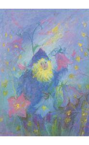 Kunstkarte - Zwerg bei den Glockenblumen - Elke Bühler - Raffael Verlag