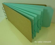 Chipboard Album Kraft and Blue Pocket Tag by aninkinstampede, $6.00