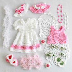 Pattern for tea party outfit and tea set for an American Girl doll.