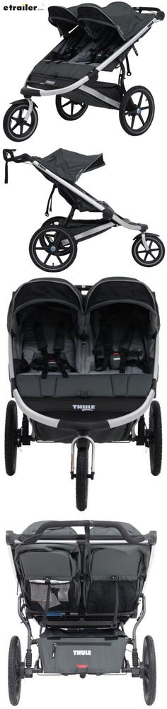 Lightweight, aerodynamic carrier is perfect for strolling or jogging. Fixed front wheel, large rear wheels, and hand brake make it easy to navigate any terrain. Reclining seats and shock-absorbing suspension offer comfort. Folds easily with 1 hand.