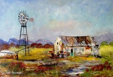 oil on canvas x in RSA: African Art Paintings, South African Art, Barn Houses, Better Day, Decoupage Paper, Canvas Board, Old Farm, Painting Videos, Beautiful Paintings