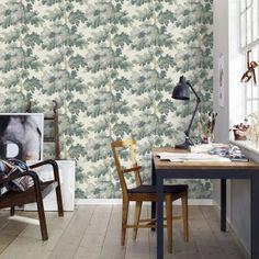 Sandberg and friends raphael wallpaper green home office