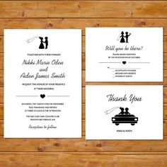 Printable Wedding Invitation Set  Black and by BabyStarfishDesigns