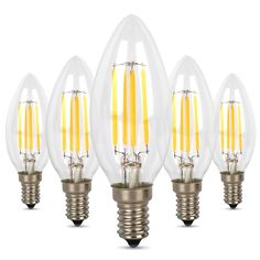 Albrillo Candle Light Bulbs, 40 Watt Equivalent, 4W E12 LED Filament Bulb, 5 Pack - - Amazon.com