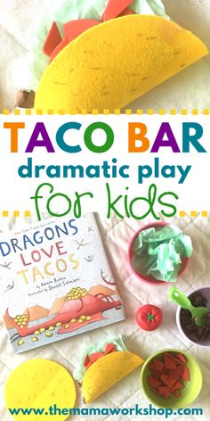 Vegan taco bar for Lil Miss's kitchen? How to Setup a Taco Bar Dramatic Play Area Taco Bar, Dramatic Play Area, Dramatic Play Centers, Preschool Dramatic Play, Toddler Fun, Toddler Activities, Toddler Play Area, Family Activities, Childcare Activities