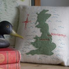 Lovely personalised map of the UK cushion by Zoe Corney