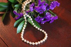 Vintage Faux pearl bead necklace champagne bead by TheHavenFinds